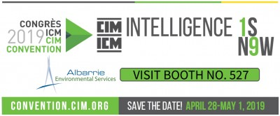 Albarrie Environmental Services will be exhibiting at the 2019 CIM Convention in Montreal QC