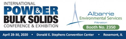 Albarrie will be an Exhibitor at Int'l Powder & Bulk Solids Expo at booth no. 2350 in April 2020