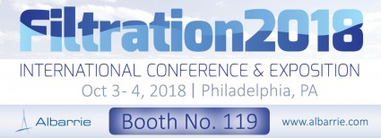 Albarrie products filtration rolled goods and will be exhibiting at Filtration 2018 at booth #119