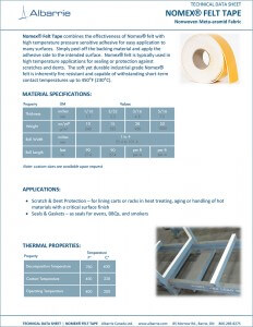 Protect aluminum and other products in age ovens using Albarrie's Nomex Felt Tape - Meta-aramids with PSA Tape