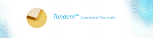 Tandem composite air filter media is a combination of high performance P84 (polyimide fibers) with conventional filter media for a fraction of the cost