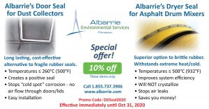 Felt seal for baghouse doors, and dryer drum seal for asphalt dryer drum mixers at Albarrie - 10% off until October 31st!
